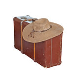 Suitcases. Scratched old suitcase with woman hat on white background, with clipping path included stock photos