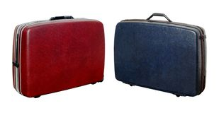Suitcases 4. Two classic style travel suitcases in red and blue colors Stock Photos