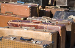 Suitcases. Row of old fashioned suitcases Royalty Free Stock Photography