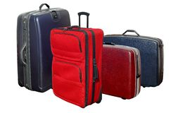 Suitcases. Four different color and style travel suitcases Stock Image