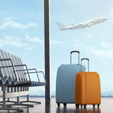 Suitcases in airport Stock Photo