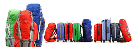 Suitcases and backpacks on white background. Luggage consisting of large suitcases and backpacks on white Stock Photo