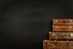 Suitcases on black background Royalty Free Stock Photography