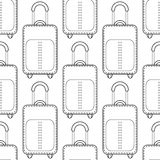 Suitcases. Black and white seamless illustration, pattern of fashion bags for coloring book, page. Stock Image