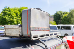 Suitcases on the car top Stock Images