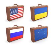 Suitcases with flags Stock Images