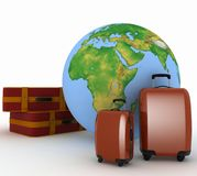 Suitcases For Travel On The Background Of The Globe Royalty Free Stock Photo