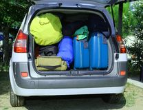 Suitcases and luggage in the car Royalty Free Stock Photography
