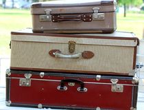 Suitcases  in the market for vintage and retro stuff Stock Images