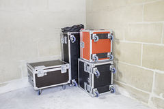 Suitcases musicians Stock Photography
