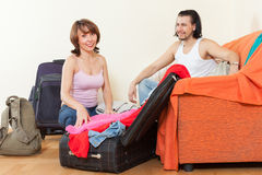 With suitcases near door at home Royalty Free Stock Images