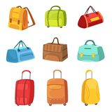 Suitcases And Other Baggage Bags Set Of Icons. Bright Color Isolated Illustrations In Simplified Childish Vector On White Background Stock Images