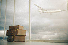 Suitcases and a plane Stock Images