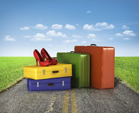 Suitcases with red Stock Photography