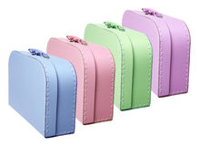 Suitcases. Row of Suitcases on White Background Royalty Free Stock Photography