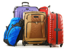 Suitcases and rucksack isolated on white Royalty Free Stock Photography