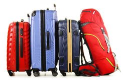 Suitcases and rucksack on white Royalty Free Stock Images