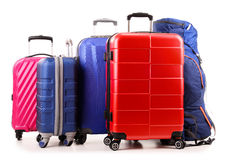 Suitcases and rucksack on white Royalty Free Stock Image