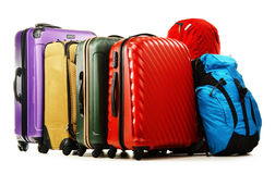 Suitcases and rucksacks isolated on white Stock Photography