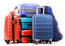 Suitcases and rucksacks isolated on white Stock Images