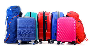 Suitcases and rucksacks isolated on white Royalty Free Stock Images