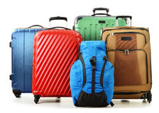 Suitcases and rucksacks isolated on white Royalty Free Stock Photos