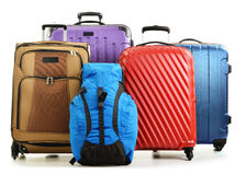 Suitcases and rucksacks isolated on white Royalty Free Stock Photo