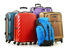 Suitcases and rucksacks isolated on white Stock Photo