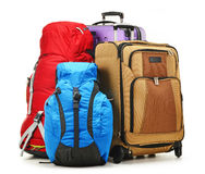 Suitcases and rucksacks isolated on white Stock Image