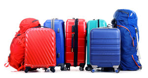 Suitcases and rucksacks isolated on white Stock Photos