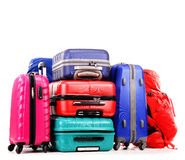 Suitcases and rucksacks on white Stock Images