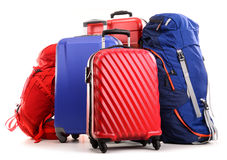 Suitcases and rucksacks on white Royalty Free Stock Photo