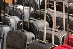 Suitcases for sale. Row of cheap suitcases for sale on a Brixton market Royalty Free Stock Photos