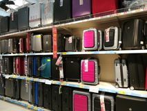 Suitcases for sale. In the supermarket Royalty Free Stock Images