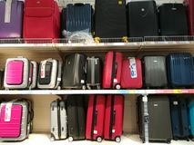 Suitcases for sale. In the supermarket Royalty Free Stock Photography