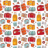 Suitcases. Seamless background. Stock Photo