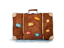 Suitcases with stickers for travel on white background. Hand drawn watercolor illustration royalty free stock photos