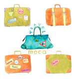 Suitcases with stickers for travelling, set - vector watercolor painting. Set of Old leather suitcases with stickers for travelling - vector watercolor royalty free illustration