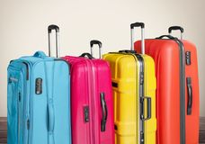 Suitcases. Polycarbonate pocket rolls booking white travel Stock Image