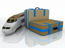 Suitcases and train Royalty Free Stock Photos