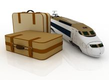 Suitcases and train Stock Photography
