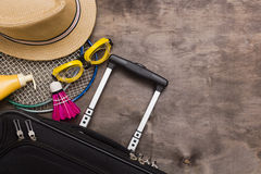 Suitcases and travel bag Stock Photo