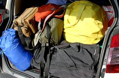 Suitcases and travel bags in the trunk of the car Royalty Free Stock Image
