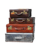 Suitcases. Vintage leather suitcases isolated included clipping path Royalty Free Stock Photo
