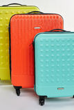 Suitcases on wheels close up. Luggage for summer tourism Stock Photo