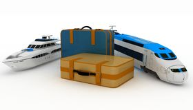 Suitcases with yacht and train Royalty Free Stock Image