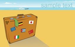Suitcuse na praia ilustração do vetor