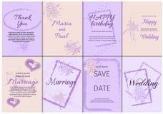 Suite de carte d'invitation de mariage avec des fleurs Calibre réglé de vintage de fond de frontière d'illustration de vecteur de photographie stock libre de droits