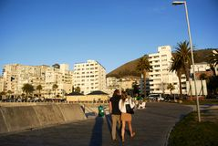 waterside walkway and seaview at Camps bay royalty free stock photography