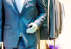 Suite on the mannequin. Mall mannequins and suit and tie Stock Photos